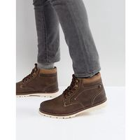 River island borg lined worker boots in brown - brown