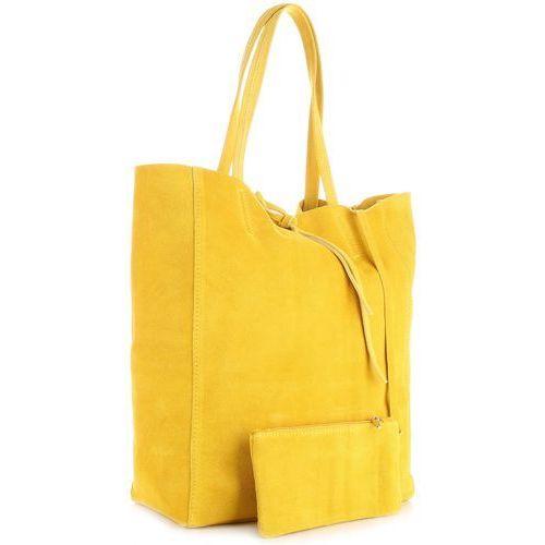 b4217a08d73dd Modne Torebki Skórzane typu ShopperBag z Etui Zamsz Naturalny Wysokiej  Jakości Żółta (kolory)