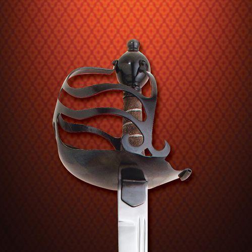 Brytyjski miecz kawaleryjski o jelcu pół- koszowym ok 1650 r ws501512 marki Płatnerze