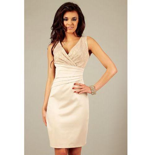 Sukienka oriana beżowy z koronką marki Vera fashion