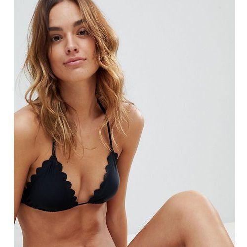 South Beach Scallop Edge Mix & Match Triangle Bikini Top - Black