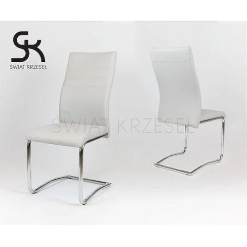 ks021 jasnoszare krzesło z ekoskóry na chromowanym stelażu - jasnoszary marki Sk design