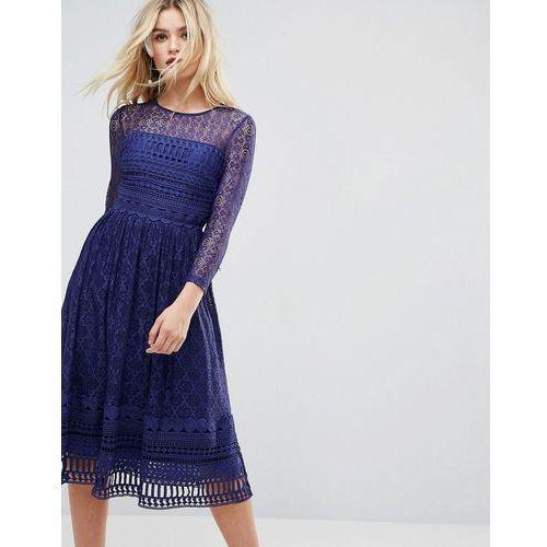 ASOS PREMIUM Lace Skater Midi Dress - Navy, kolor niebieski