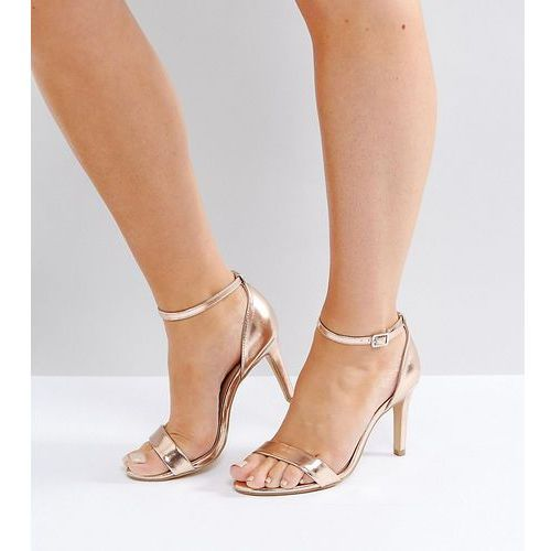 wide fit metallic barely there heeled sandal - gold marki New look
