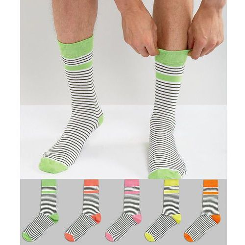 Asos  socks in multicoloured stripes with contrast heel and toe 5 pack - multi