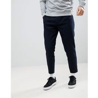 relaxed fit striped trousers in navy - navy marki Pull&bear