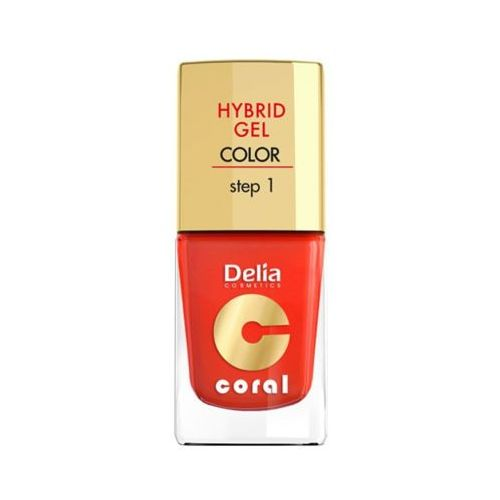 hybrid gel step 1 14 pomarańczowa czerwień żelowy lakier do paznokci marki Delia