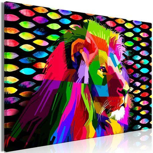 Obraz - tęczowy lew (1-częściowy) szeroki marki Artgeist