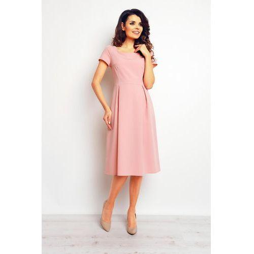 Pudrowa Klasyczna i Elegancka Sukienka Midi, WM084pi
