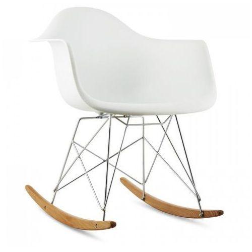 oneConcept Aurel Fotel bujany w stylu retro siedzisko z polipropylenu drewno brzozowe biały, kolor biały