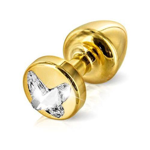 Zdobiony plug analny -  anni r butt plug butterfly gold 25 mm motyl złoty marki Diogol