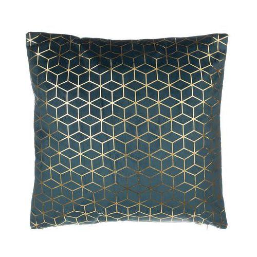 Beliani Poduszka dekoracyjna wzorzysta welur ciemnoniebieska 45 x 45 cm