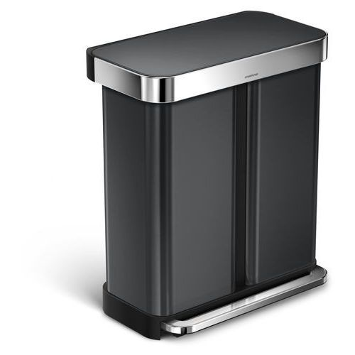 Simplehuman Kosz dwukomorowy liner pocket recycler 58l czarny