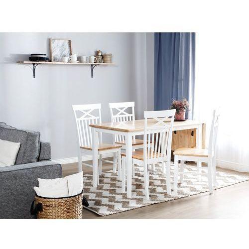 Beliani Stół do jadalni drewniany biały 119 x 75 cm 1 przedłużka louisiana