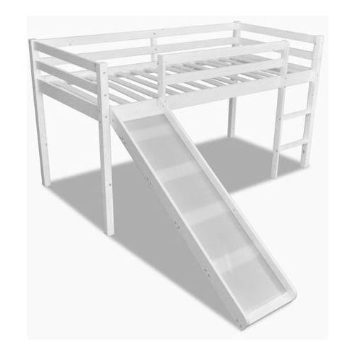 vidaXL Wysokie łóżko dziecięce ze zjeżdżalnią i drabinką, drewniane