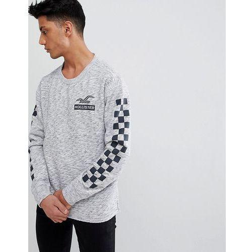 checkerboard sleeve crew neck sweatshirt in grey marl - grey marki Hollister
