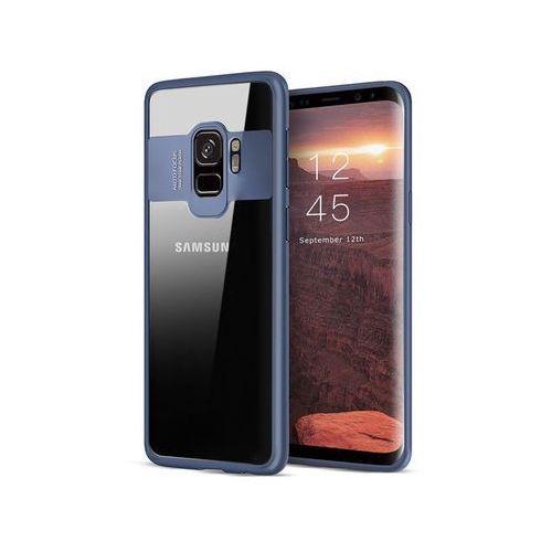 Etui Alogy Galaxy S9 przezroczyste z niebieską ramką + Szkło - Niebieski, kolor niebieski