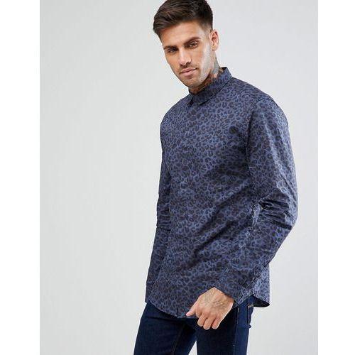 New Look Regular Fit Shirt With Leopard Print In Blue - Blue, kolor niebieski