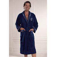 Luksusowy męski szlafrok MARINE MAN w ozdobnym opakowaniu L Ciemnoniebieski, kolor niebieski