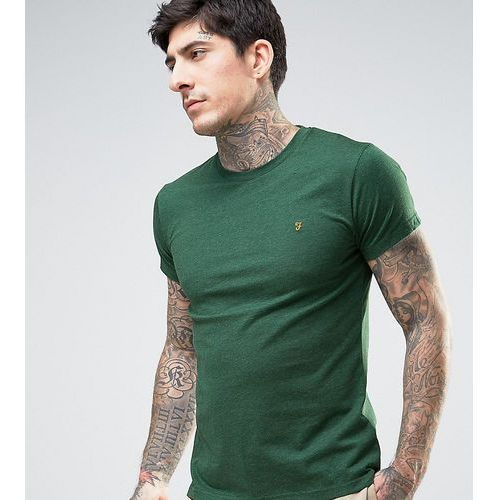 Farah gloor slim fit logo marl t-shirt in green exclusive at asos - green