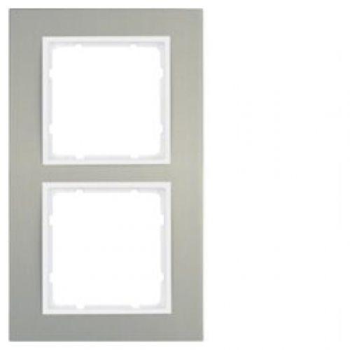 Berker B.3 Ramka podwójna aluminium /biały 10123904 HAGER POLO
