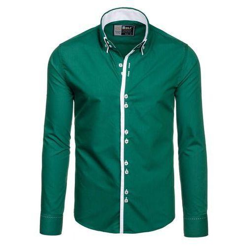 Ciemnozielona koszula męska elegancka z długim rękawem Bolf 1721-1 - CIEMNOZIELONY, kolor zielony