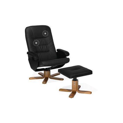 Fotel czarny ekoskóra funkcja masażu z podnóżkiem RELAXPRO, kolor czarny