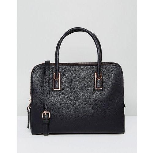 ASOS DESIGN rose gold zipped compartment tote bag with detachable strap - Black, kolor czarny