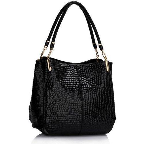 Czarna lakierowana torebka damska skóra węża - czarny marki Wielka brytania