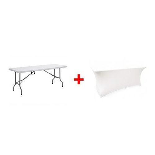 Stół cateringowy 180x74 + obrus biały dobrebaseny marki Pure garden & living