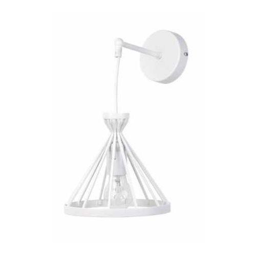 Sigma Kinkiet lampa ścienna nowum 31713 trójątna oprawa metalowa klatka na wysięgniku biała (5902846815921)
