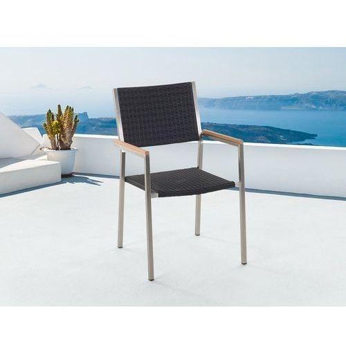 Beliani Meble ogrodowe czarne - krzesło ogrodowe - rattanowe - balkonowe - tarasowe - grosseto