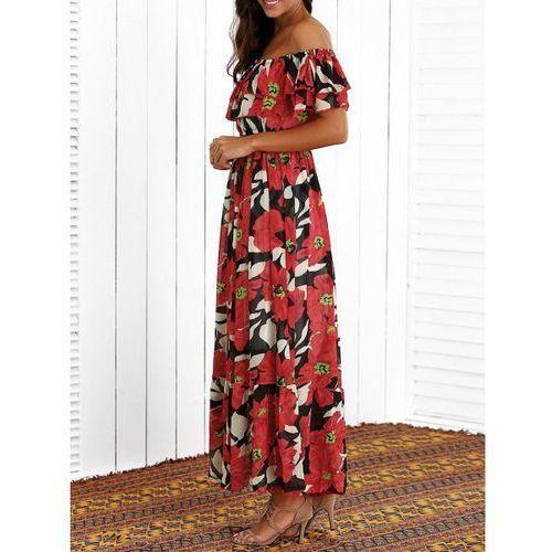 Flounced floral print maxi dress marki Rosewholesale