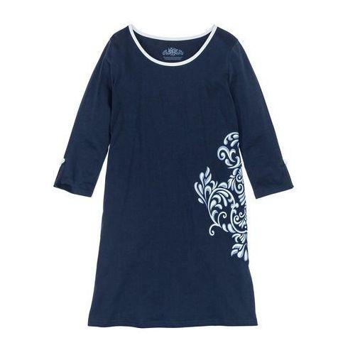 Koszula nocna, bawełna organiczna ciemnoniebieski z nadrukiem marki Bonprix