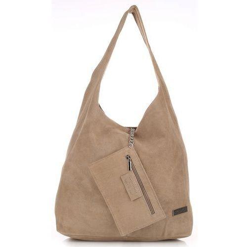 Oryginalne Torby Skórzane XL VITTORIA GOTTI Shopper Bag z Etui Zamsz Naturalny Beżowa (kolory)