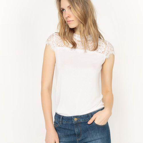 T-shirt gładki z krótkimi rękawami z koronkową wstawką marki R édition