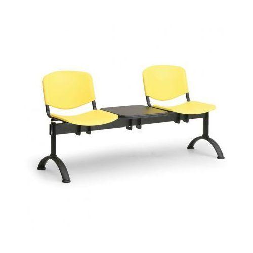 Euroseat Plastikowa ławka do poczekalni iso, 2-siedziska + stolik, żółty, czarne nogi