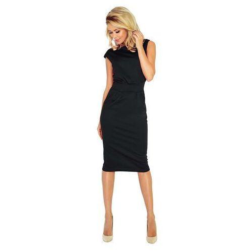 Czarna Sukienka Elegancka Midi z Zaznaczoną Talią, kolor czarny
