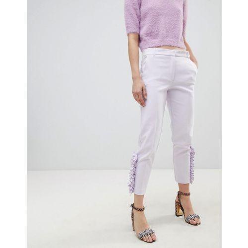 pearl detail cigarette trousers - purple marki River island
