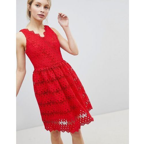 Glamorous lace skater dress - red