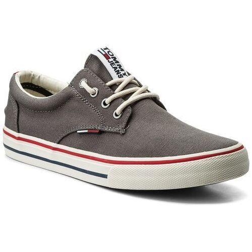 Tenisówki - tommy jeans textile sneaker em0em00001 steel grey 039 marki Tommy jeans