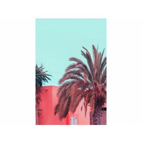 Obraz z nadrukiem w kalifornijskim stylu holly - drewno sosnowe 60x90 cm - kolor różowy i niebieski marki Vente-unique