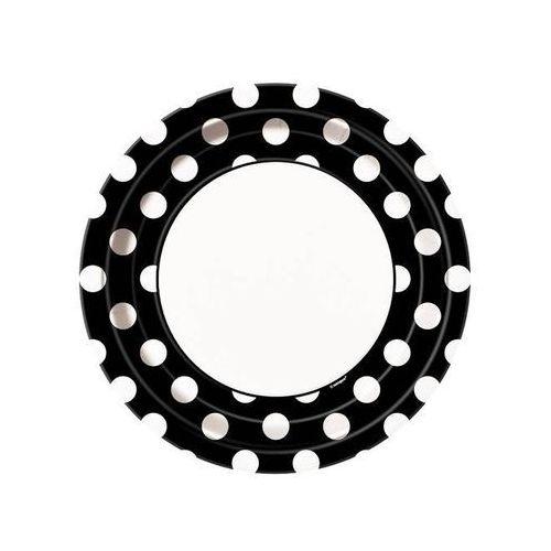 Talerzyki urodzinowe czarno-białe w białe kropki - 23 cm - 8 szt. marki Unique