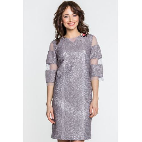Sukienka z szarą koronką - Margo Collection, kolor szary