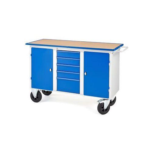 Aj produkty Mobilny stół wasztatowy flex, 2 szafki, 5 szuflad, 1435x590x900 mm