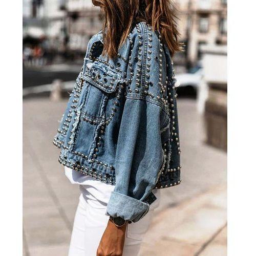Katana Jeans z Ćwiekami Dżetami - Niebieski