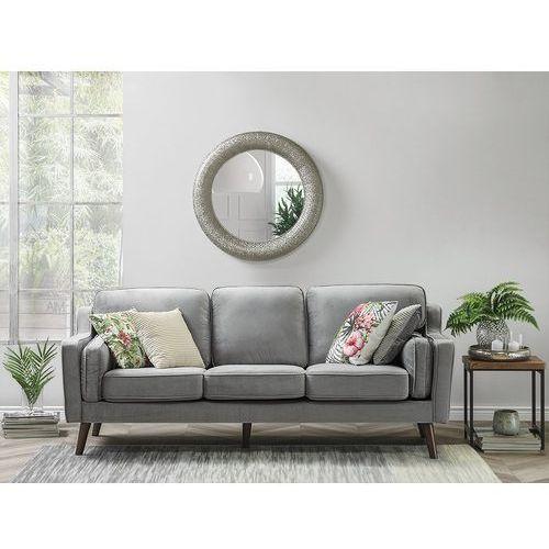 Sofa trzyosobowa tapicerowana jasnoszara lokka marki Beliani