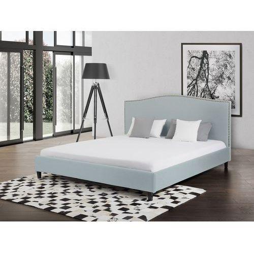 Łóżko błękitne - 140x200 cm - łóżko tapicerowane - MONTPELLIER - produkt z kategorii- Łóżka