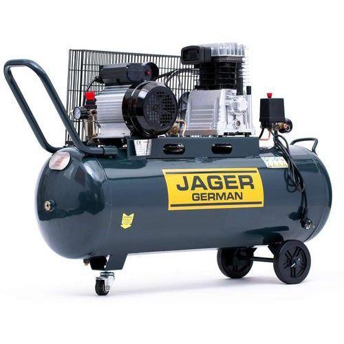 Jager german Sprężarka powietrza tłokowa kompresor tłokowy olejowy 100l 8bar 350l/min 230v mocna rzecz