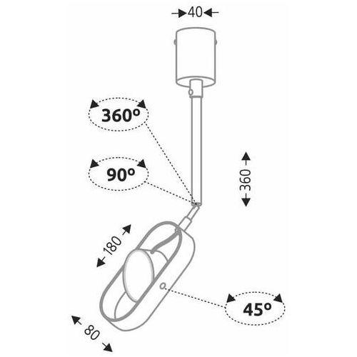 Shilo Sufitowa lampa industrialna furoku 7890 regulowana oprawa metalowy reflektorek led 4,5w okrągły czarny